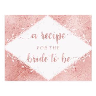 Rose Gold Shimmer Foil Bridal Shower Recipe Card