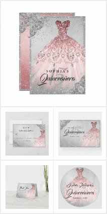 Rose Gold Silver Diamond Sparkle Gown Quinceanera