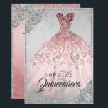"Rose Gold Silver Diamond Sparkle Gown Quinceanera Invitation<br><div class=""desc"">More elegant Quinceanera Invitations in the Little Bayleigh Store</div>"