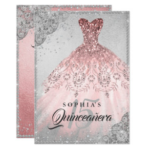 rose gold quinceañera invitations zazzle
