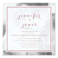 Rose Gold Simple Script Modern Photo Wedding Invitation