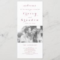 Rose Gold Simple Script Modern Photo Wedding Program
