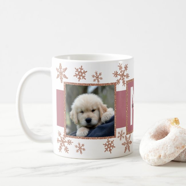 Rose Gold Snowflake 2 Photo Monogram Christmas Coffee Mug