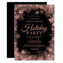 Rose Gold Snowflake Christmas Corporate Holiday Invitation