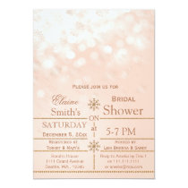 Rose Gold snowflakes Winter Bridal shower Invite