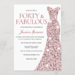 """Rose Gold Sparkle Dress 40th Birthday Party Invite<br><div class=""""desc"""">Rose Gold Sparkle Dress 40th Birthday Party Invite 40 & Fabulous womans 40th birthday party  Variations to the invitation and matching items in our store</div>"""