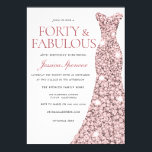 "Rose Gold Sparkle Dress 40th Birthday Party Invite<br><div class=""desc"">Rose Gold Sparkle Dress 40th Birthday Party Invite 40 & Fabulous womans 40th birthday party