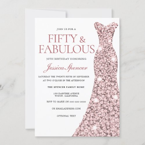 Rose Gold Sparkle Dress 50th Birthday Invite