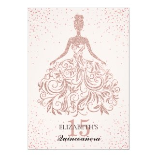 Rose Gold Sparkle Dress Quinceañera Glitter Pink Invitation