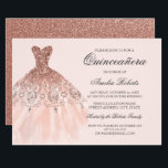 "Rose Gold Sparkle Dress Quinceanera Invitation<br><div class=""desc"">More color options in the Little Bayleigh Store!</div>"