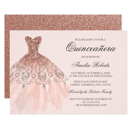 Rose Gold Sparkle Dress Quinceanera Invitation Zazzle Com