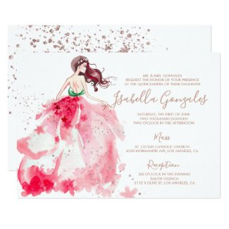 Rose Gold Sparkle Dress Quinceañera Invitation