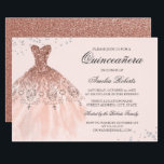 """Rose Gold Sparkle Dress Quinceanera Invitation<br><div class=""""desc"""">More color options in the Little Bayleigh Store!</div>"""