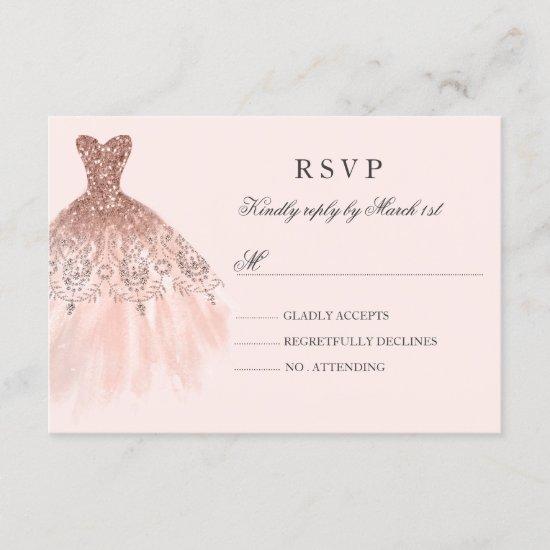 Rose Gold Sparkle Dress Quinceanera RSVP