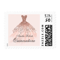 Rose Gold Sparkle Dress Quinceanera Stamp