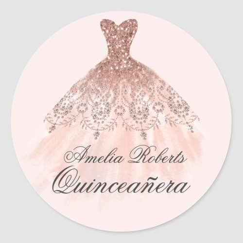 Rose Gold Sparkle Dress Quinceanera Sticker
