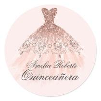 Rose Gold Sparkle Dress Quinceanera Sticker