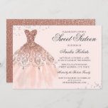 """Rose Gold Sparkle Dress Sweet Sixteen Invitation<br><div class=""""desc"""">More color options in the Little Bayleigh Store!</div>"""