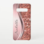 """Rose Gold Sparkle Glam Bling Monogram Metal Samsung Galaxy S10 Case<br><div class=""""desc"""">This design was created though digital art. It may be personalized in the area provide or customizing by choosing the click to customize further option and changing the name, initials or words. You may also change the text color and style or delete the text for an image only design. Contact...</div>"""