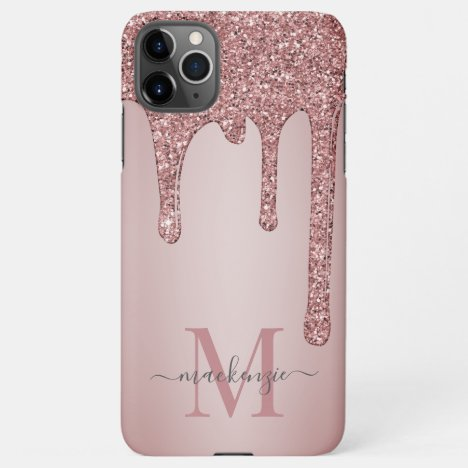 Rose Gold Sparkle Glam Glitter Drips Monogram iPhone 11Pro Max Case