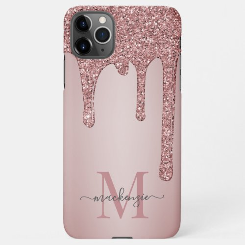 Rose Gold Sparkle Glam Glitter Drips Monogram iPhone 11Pro Max Case