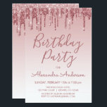 """Rose Gold Sparkle Glitter Any Age  Birthday Invitation<br><div class=""""desc"""">Blush Pink - Rose Gold Sparkly Dripping Glitter Custom Any Age Birthday Party Invitation . This is the perfect Birthday Invitation for a Modern Rose Gold and Blush Pink Ombre Glitter Sparkle Girly Birthday Party. Please contact the designer for matching customized items.</div>"""