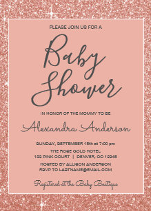 Elegant pink rose baby shower invitations announcements zazzle rose gold sparkle glitter baby shower invitation filmwisefo Gallery