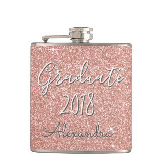 Rose Gold Sparkle Glitter Class of 2018 Graduate Hip Flask