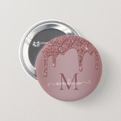 Rose Gold Sparkle Glitter Drips Monogram Button