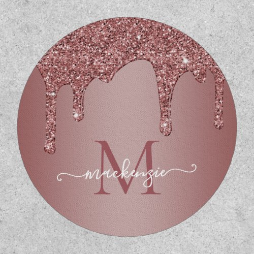 Rose Gold Sparkle Glitter Drips Monogram Patch