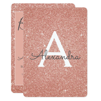 Rose Gold Sparkle Glitter Girly Birthday Party Card