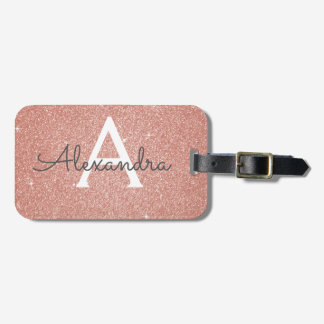 Rose Gold Sparkle Glitter Monogram Name Bag Tag