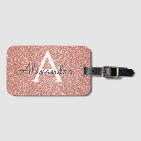 Rose Gold Sparkle Glitter Monogram Name Bag Tag