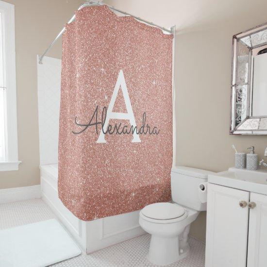 Rose Gold Sparkle Glitter Monogram Name Bathroom Shower Curtain