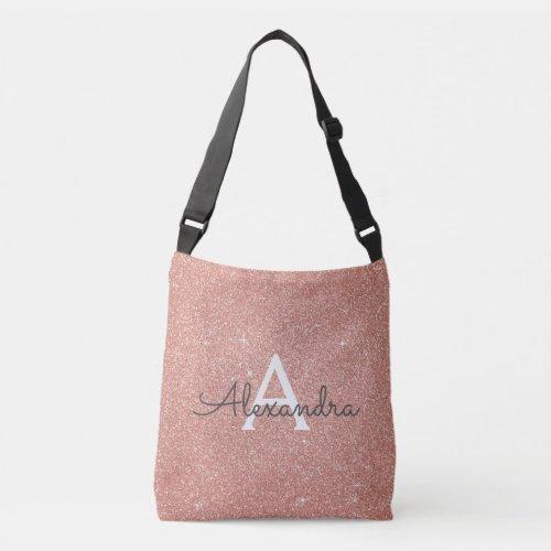 Rose Gold Sparkle Glitter Monogram Name  Initial Crossbody Bag
