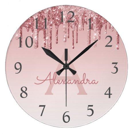 Rose Gold Sparkle Glitter Monogram Name & Initial Large Clock