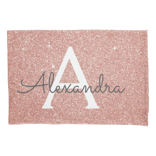 Rose Gold Sparkle Glitter Monogram Name & Initial Pillowcase | Zazzle.com