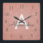 "Rose Gold Sparkle Glitter Monogram Name &amp; Initial Square Wall Clock<br><div class=""desc"">Rose Gold Sparkle Glitter Monogram Name and Initial Serving Wall Clock. The Wall Clock makes the perfect gift for someone who loves pink sparkle glitter.</div>"