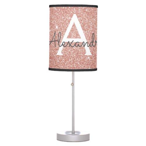 Rose Gold Sparkle Glitter Monogram Name & Initial Table Lamp