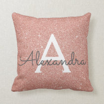 Rose Gold Sparkle Glitter Monogram Name & Initial Throw Pillow