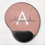 """Rose Gold Sparkle Glitter Monogram Name Mousepad<br><div class=""""desc"""">Rose Gold Sparkle Glitter Monogram Name Monogram Mousepad. This Mousepad can be customized to include your first name. Please contact the designer for customized matching items.</div>"""