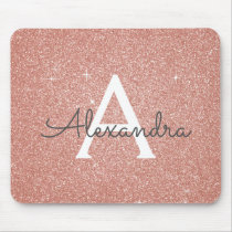Rose Gold Sparkle Glitter Monogram Name Mousepad