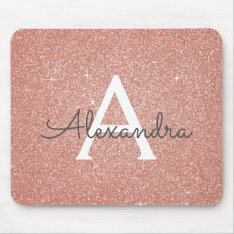 Rose Gold Sparkle Glitter Monogram Name Mousepad at Zazzle