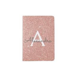 Rose Gold Sparkle Glitter Monogram Name Passport Holder