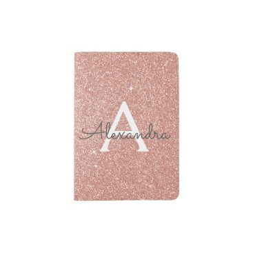 Hot_Foil_Creations Rose Gold Sparkle Glitter Monogram Name Passport Holder