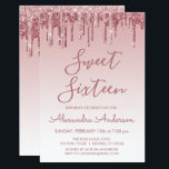 """Rose Gold Sparkle Glitter Sweet Sixteen Birthday Invitation<br><div class=""""desc"""">Blush Pink - Rose Gold Sparkly Dripping Glitter Sweet 16 Birthday Party Invitation . This is the perfect Sweet Sixteen Birthday Invitation for a Modern Rose Gold and Blush Pink Ombre Glitter Sparkle Girly Birthday Party. Please contact the designer for matching customized items.</div>"""