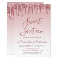 Rose Gold Sparkle Glitter Sweet Sixteen Birthday Invitation