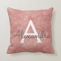 Rose Gold Sparkle Monogram Name & Initial Throw Pillow