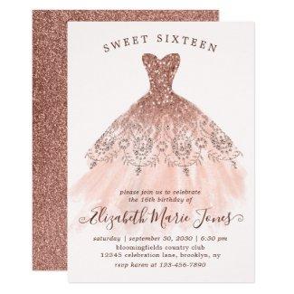 Rose Gold Sparkle Pink Dress Sweet 16th Birthday Invitation