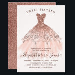 "Rose Gold Sparkle Pink Dress Sweet 16th Birthday Invitation<br><div class=""desc"">Pink Rose Gold Sparkle Dress Sweet 16th Birthday Invitation</div>"
